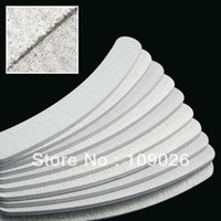 Wholesale Manicure Sets Free Shipping - Free Shipping 50pcs lot 100 180 Acrylic UV Gel Curved Mail Nail File Buffer Buffing Manicure Set