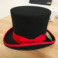 Wholesale Australian Hat For Men - Wholesale-Black Top Hats for men and women Pure Australian Wool Felt Fedora hat with red bow and brim 18cm high S M L XL