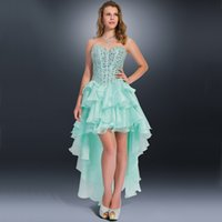 Wholesale High Low Ruffles - High Low Prom Gowns Sweetheart Boning Bodice Tiered Ruffles Skirt Mint Prom Dresses 2016 Crystal Evening Dresses Long P1117O