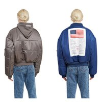 Wholesale Two Color Pattern - Fashion MA1 Winter Vetements Oversize Warm windproof Men Hoodies Women Pilot America Flag Two sides wear Jacket Thick zipper Sports Coat