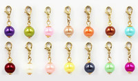 Wholesale Magnetic Round Clasp - 100PCS lot Mix Colors Round Pearl Beads Floating Dangle Pendant Charms With Lobster Clasp Fit For Magnetic Living Locket