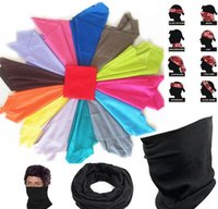 Wholesale Headband Hiking Mask - 2015 cotton magic scarf men women teens sports riding hiking Circle ring scarves outdoor wrap cap hat headband mask gloves solid color