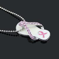 collares flip flop al por mayor-Collar de la joyería de la cinta rosada de la conciencia del cáncer de pecho, collar colgante de la cinta rosada del flip-flop
