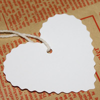 Discount vintage paper gift tags - Wholesale-2016 New 100Pcs+20M Strings Vintage White Kraft Paper Heart Shape Hang Tags Wedding Favor Label Gift Cards