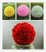 Baile de la Rosa de flores de seda rosa fuerte Artificial cifrado Hanging Besar bola para la decoración Wedding Supplies 13,5 CM 60 CM Disponible