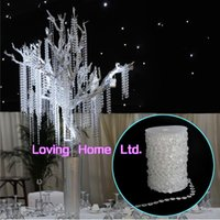arboles acrilicos para decoraciones de bodas al por mayor-30M / 99Ft Diamond Acrylic Crystal Bead Garland Strand Cadenas de cuentas Garland HomeWedding Centerpiece Manzanita Tree Decoration Hanging Decor