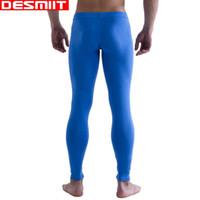 Wholesale Mens Long Johns Wholesale - 2016 New High Quality Men's Long johns Brand DESMIIT thin warm cotton pants Mens leggings Thermal underwear Pure colour M L XL