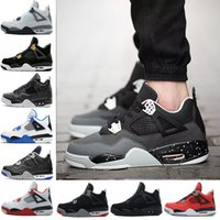 Drop shipping air retro 4 uomini Scarpe da basket Pure Money Royalty White Cement Fire Rosso Black cat allevato Motosports Blue Green Sports sneaker