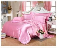 Wholesale Pink Doona Covers - Silk bedding set super king size queen full twin Pink satin duvet cover double fitted bed sheets quilt doona bedspreads 5pcs