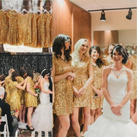 Wholesale Golden Yellow Bridesmaid Dress - 2016 Luxury Golden Sequins Short Bridesmaids Prom Dresses Scoop Neck with Short Sleeves Empire Waist Plus Size Bridesmaid Gowns