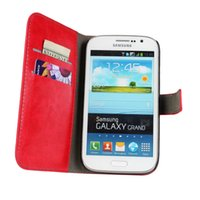 Wholesale Case Flip Galaxy Grand Duos - Wholesale-New 2015 Luxury Genuine Leather Flip Case For Samsung Galaxy Grand Neo duos i9060 i9082 Wallet Style With Stand 2 Card Holders