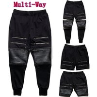 Wholesale Mens Quilted Leather - Multi-Way Jogging Pants! Fashion Mens Casual Jogger PU Leather Quilted Zipper Sportwear Outdoor Sport Pants Slacks Trousers Ninja Sweatpants
