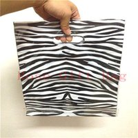 Wholesale 25 cm Zebra Stripe Print Large Plastic Shopping Bags With Handle Thick Clothes Gift Packaging Plastic Bags