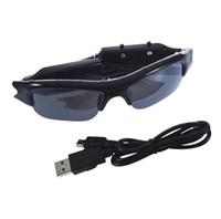Wholesale Video Cameras For Glasses - unglasses For TF SD Mini DVR Cam Eyewear 640 x 480 Sun Glasses DV Camera Outdoor Digital Audio Video Camcorder Recorder