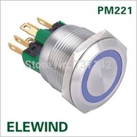 Wholesale Stainless Momentary Switch - ELEWIND 22mm Stainless steel Ring illuminated Momentary push button switch(PM221F-11E B 12V S)