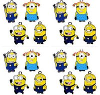 Wholesale Despicable Charms - wholesale 50pcs metal Cartoon Despicable Me Tim the Minion DIY mobile phone charms pendants party favor Gift free shipping