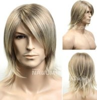 Wholesale Anime Wig Cosplay Mens - 2015 new arrivals fashion High Quality Flax hair anime cosplay Mens Male Wig Handsome Vogue Short Warped wig Male medium Wigs