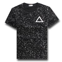 Wholesale Tee Shirt Triangle Galaxy - Wholesale-2015 new shirts men black&white polka dot galaxy triangle graphic tees mens boys teens casual tee shirt