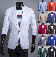 Wholesale Men Red Colour Suits - 2014 new fashion slim men's suits A buckle Casual Linen men's coat mens clothing jacket 12 colours Sapphire white 1405