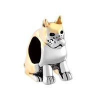 metall-boxer großhandel-Personalisierter Schmuck Zwei Boxer Welpen Hund Liebhaber tierischen europäischen Perle Metall Charme Damen Armband mit großem Loch Pandora Chamilia kompatibel