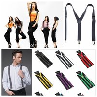 Wholesale Wide Elastic Suspenders - Clip-on Longer version Suspenders 100CM Elastic Candy Y-Shape Adjustable Braces 36 Colors 2.5cm Wide For Christmas gift YYA942