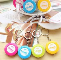 Wholesale Plastic Ring Gauge - Mini Tape Measure Plastic Keychain Key Ring mixed Color Sewing Tailor Dieting Measuring Ruler Sewing Notions & Tools Gauging Tools