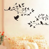 2016 New Black Bird Tree Branch Autocolantes para papel de parede Removable vintage kitchen Wall Sticker Decoração para casa Stickers em sala de estar