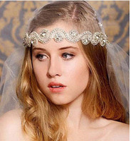 Wholesale Europ Style - 2015 Cheap Good Europ Style Bridal Hairwear Crystal Headband Cheap wedding accessories Silk Ribbon Fashion party Prom Accesories