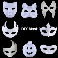 Wholesale Mask Painting Butterfly - Xmas Promotion DIY Mask Hand Painted Halloween White Face Mask Zorro Crown Butterfly Blank Paper Mask Masquerade Party Cosplay Masks