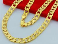 collar de cadena de oro amarillo al por mayor-2014 venta caliente clásico 24 K ORO AMARILLO LLENO COLLAR DE HOMBRE 24
