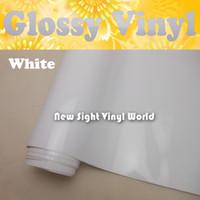 vinilo sin burbujas blanco al por mayor-Alta calidad de alta brillante Blanco Vinilo Abrigo Gloss Blanco Vinilo Film Blanco Gloss Car Wrap Air Free Bubble Tamaño: 1.52 * 30 m / Roll