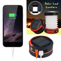 Wholesale Waterproof Solar Led Torch - Solar Camping LED Lantern With USB Rechargeable Collapsible Light Mini Flashlight Torch Light Waterproof Lantern for Camping