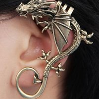 Wholesale European Style Cuffs - 2 Color styles European And American Pop Punk Earring Personality No Exaggeration Dragon Pierced Ear Clip charm infinite Ear Clip jewelry