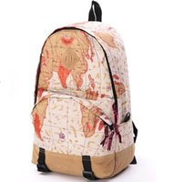 Cheap Wholesale-2015 fashion women men travel bags men's school canvas flag newspaper map design printing backpacks school bags for girls