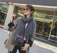 Wholesale Embroidery Silk Scarves - scarf real cashmere wool Scarves autumn winter keep warm lengthen european and american style Bee stripe embroidery shawl Silk scarves