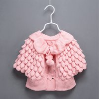 Wholesale Girls Cardigans Sweaters - Kids Knit puff cardigan baby girl Batwing poncho babies Fall Winter outwear knit sweaters children's clothes