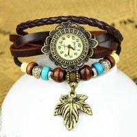 Wholesale Maple Leaf Watch - Wholesale Fashionable Digital Wrist Watch Handmade Genuine Leather Girls Wrist Watch Maple Leaf Jewelry Bracelet for Women