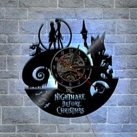 Nightmare Before Christmas Gifts Wall Decor Design moderno Wall Art Decal Sticker Nero fai da te 3D Night Night Quartz Orologio da parete in vinile da record