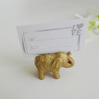 fotos de elefantes al por mayor-100 UNIDS Oro Lucky Elephant Place Portatarjetas / Photo Holder WeddingBridal Favores de la ducha y el regalo Envío gratis 0915 # 15