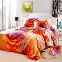 Wholesale Pillow Shams Roses - Romantic rose oil painting Egyptian cotton bed duvet cover flat sheet pillow shams queen size 4 5pc comforter bedding sets home textile