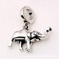 Wholesale Silver 925 Bone Charm - Authentic 925 Sterling Silver Animal Bead Charm Vintage Cute Elephant bone Pendant Beads Fit Pandora Bracelet Bangle DIY Jewelry