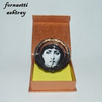 Wholesale Feature Art - Wholesale-newest White and black crystal fornasetti ashtray from Milan designer piero Fornasetti featuring art beauty face skull prints