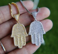 Wholesale Pave Heart Pendants - free chain mens jewelry hip hop bling 38.6mm sized micro pave cubic zirconia hamsa hand icedd out cool mens chain necklace