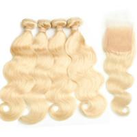 sarışın brazilian dalga saç paketleri toptan satış-Brezilyalı Bakire Saç kapatma ile 4 demetleri # 613 Sarışın Vücut Dalga saç bakire brezilyalı saç sarışın dantel demetleri ile demetleri