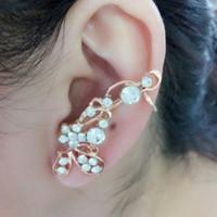 Wholesale Korean Style Cuff Earrings - 1pcs Korean Style Shining Crystal Butterfly Flower Rhinestone Ear Cuff Earrings