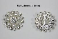 Wholesale 28mm Ships - Free Shipping Wholesale 28mm 40pcs lot Flatback Rhinestone Button With Pearl For Hair Flower Wedding Embellishment BYM05018