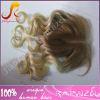 Wholesale Super Cheap Ombre Hair - Cheap Hair Ombre 4 613 Top Lace Closure Free Middle Part Top Closure Super wave Peruvian Hair Brwon To Blonde Beauty Lace Closures 4*4