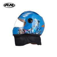 Wholesale Motorcycle Helmet Kids - Free shipping kids full face helmet cartoon pictrue capacete motorcycle helmet four season waterproof windproof warm helmet
