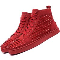 Wholesale Cattle Leather Shoes - High Top Studded Spikes Casual Flats Red Bottom Luxury Shoes 2016 New louboutin Men and Women Party Designer Sneakers Lovers Genuine Leather