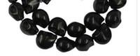 türkis schädel perlen groihandel-100pcs Türkisedelstein Schädel-Knochen-Korn-DIY Halskette Schmucksachen, das Schwarz 10x12mm